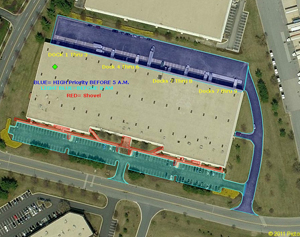 Commercial property measured for snow removal