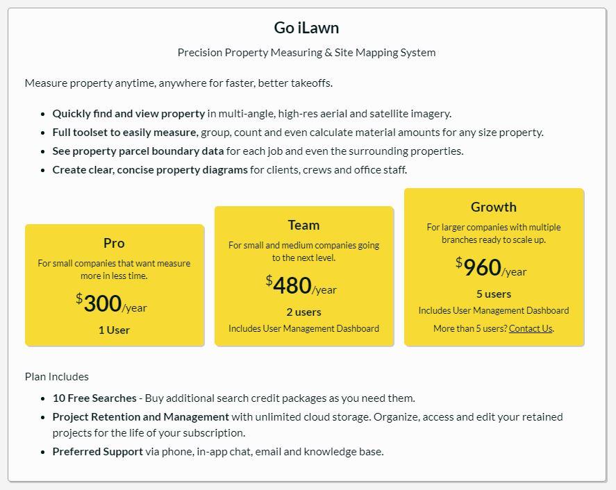 Go iLawn Annual Pricing Plan