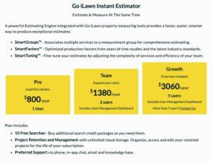 Go iLawn Instant Estimator Pricing