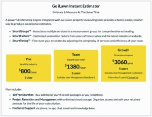 Go iLawn Instant Estimator Price Packages