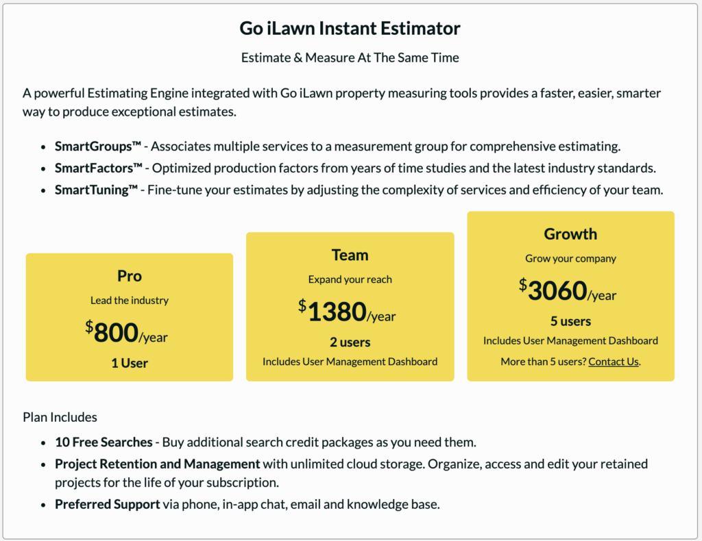 Go iLawn InstantEstimator Price Packages